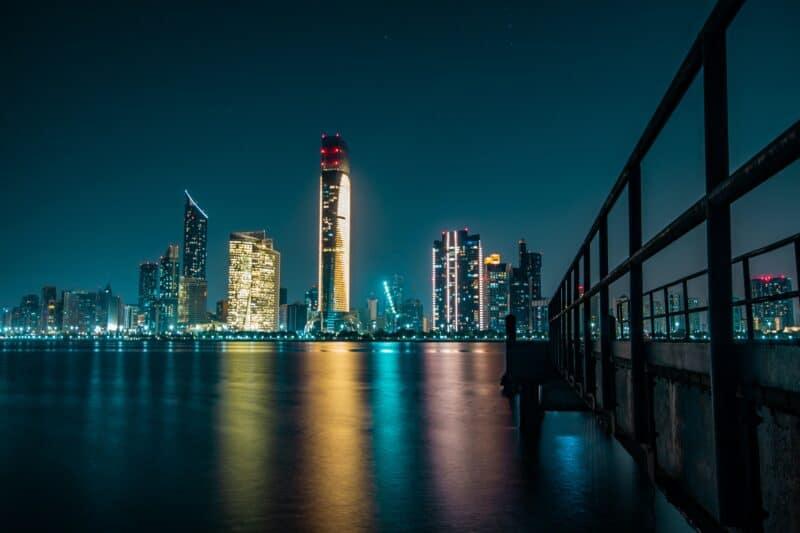 Abu Dhabi night skyline across the water