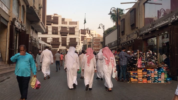 Streets and markets of Al Balad Souq in Al Balad Jeddah Historical UNESCO World Heritage Site