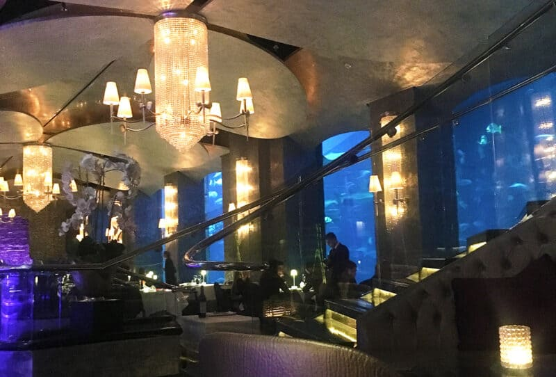 Inside Ossiano seafood fine dining restaurant inside Atlantis on Palm Jumeriah Dubai
