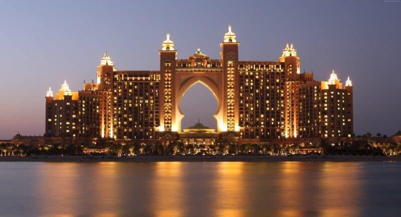 The Atlantis Dubai at night lit up