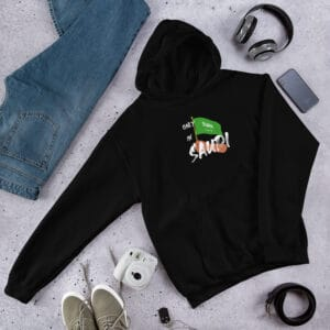 Only in Saudi with Saudi flag hoodie in black