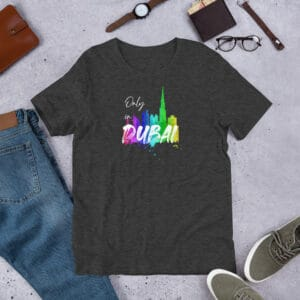 Grey Heather t-shirt with Dubai Skyline and Only in Dubai text