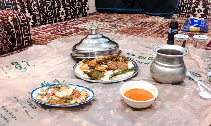 Traditional saudi food served in a traditional Najd restaurant