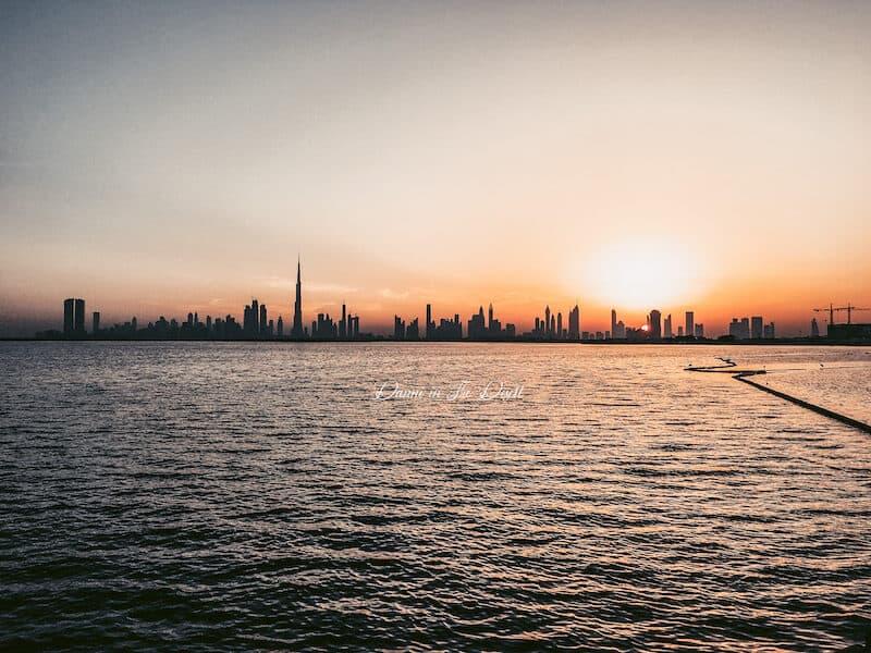 Dubai Skyline view with Burj Khalifa from Dubai Creek